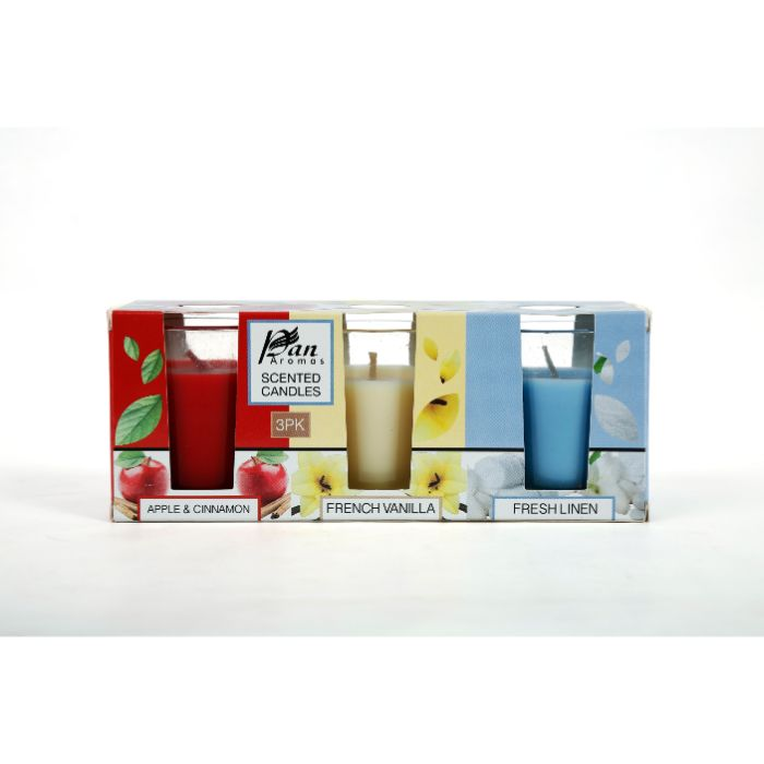 3 Pack Short Glass Candles
