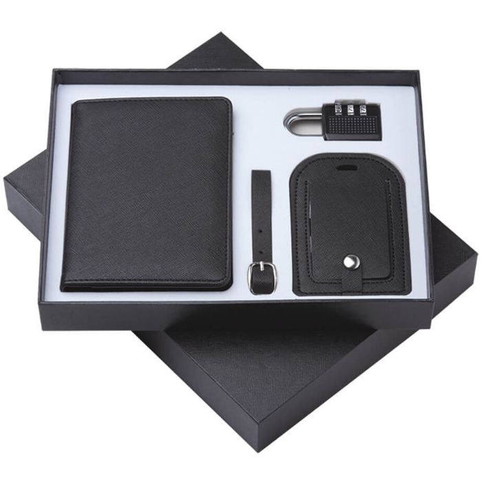 3 in 1 Set : Passport Holder, Coded Lock & Luggage Tag