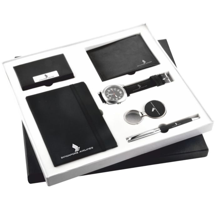 6 in 1 Set : Visiting Card Holder, Diary, Wallet, Watch, Keychain & Pen