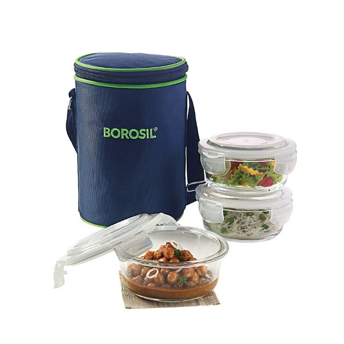 Borosil Klip N Store Microwavable Containers with Lunch Bag