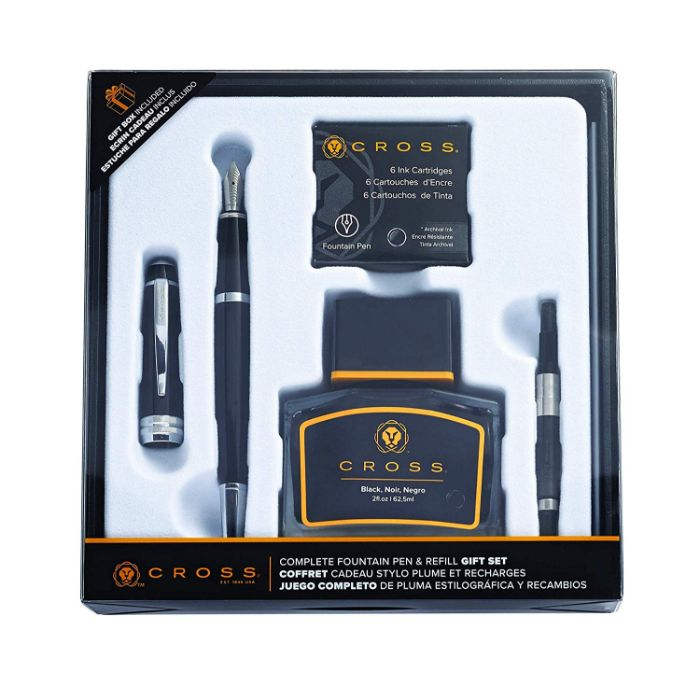 Cross Bailey Black Lacquer Fountain Pen with Chrome Appointments Set