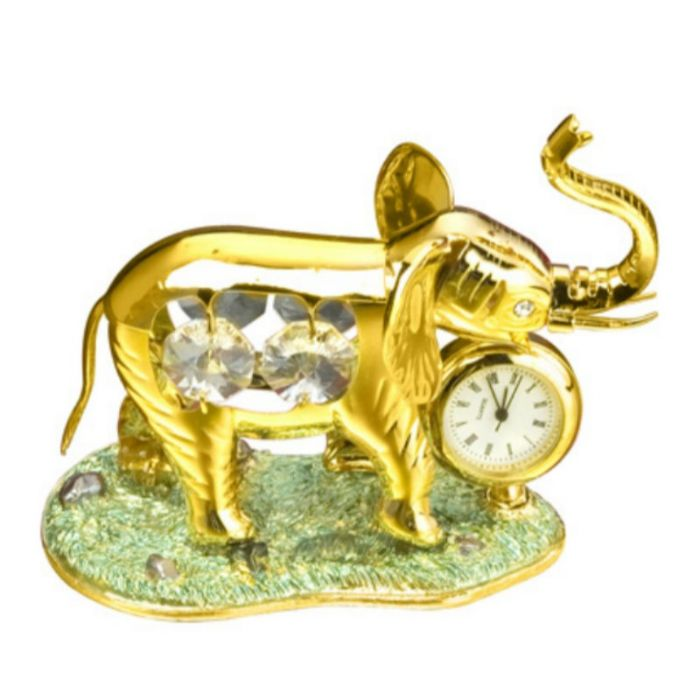 Elephant With Clock 24k Gold Plated