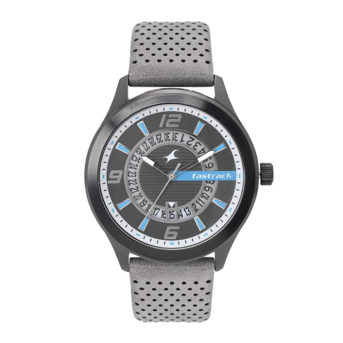 Fastrack Loopholes Black Dial Leather Strap Watch