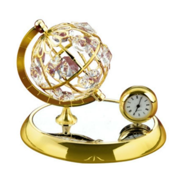 Globe With Clock 24k Gold Plated