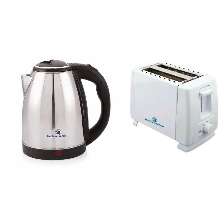 Kelvinator Break Fast Combo Popup Toaster KPT 601 Stainless Steel Kettle