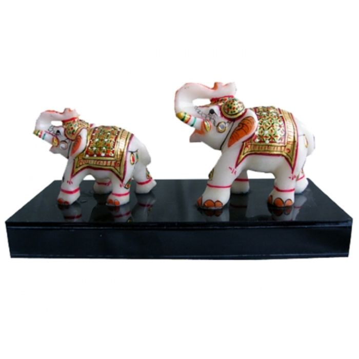 Marble Elephant Red Gold With Base
