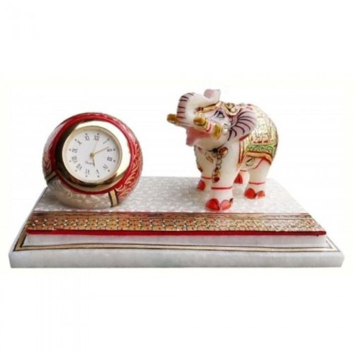 Marble Elephant With Clock