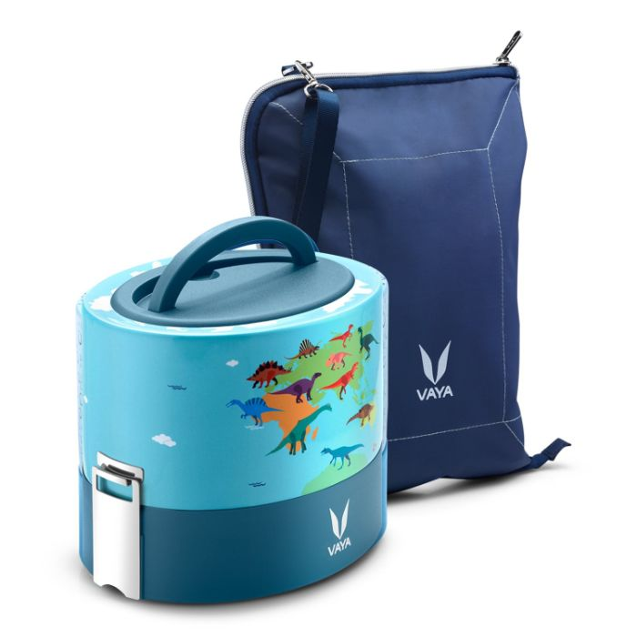 VAYA TYFFYN Dino Polished Stainless Steel Lunch Box with Bagmat